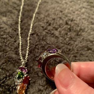 Jewelry - Necklace & Ring set, silver and multicolor stones